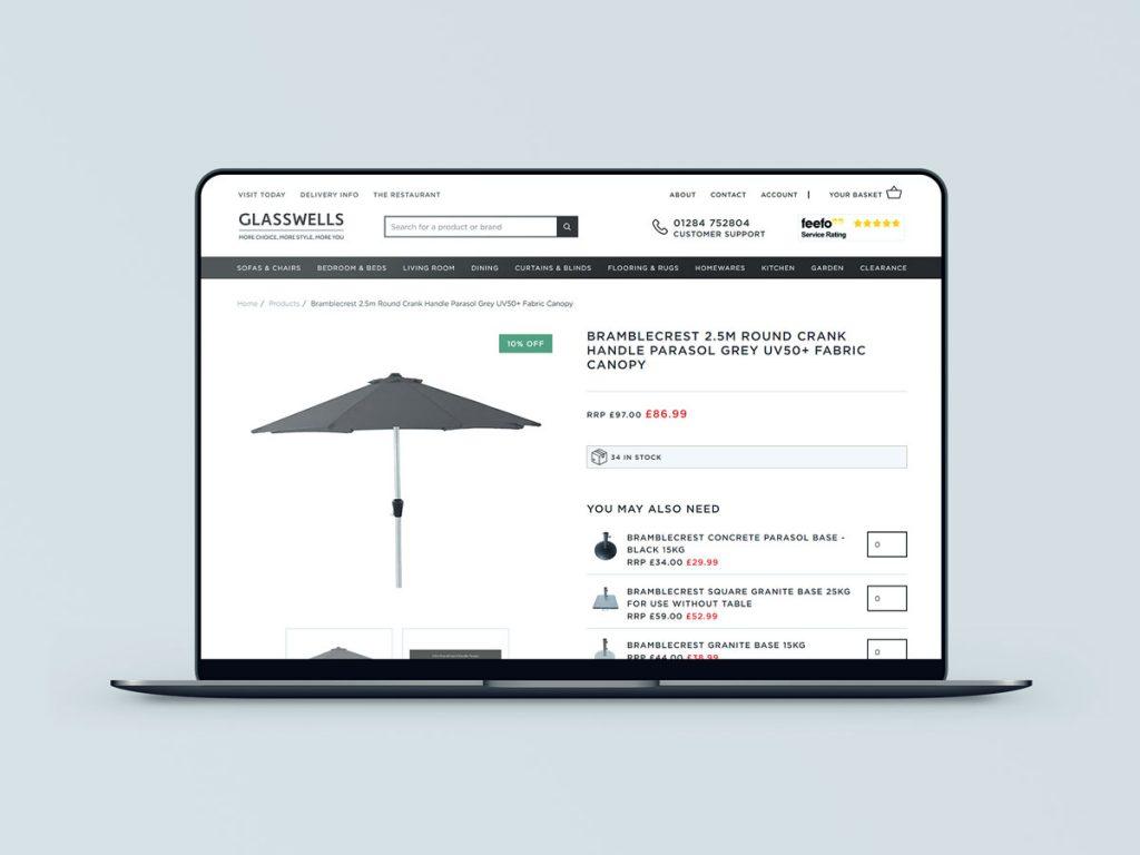 Glasswells YES ecommerce upselling