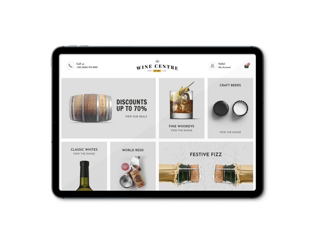 the wine centre ecommerce website on ipad