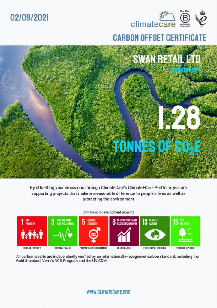 Swan carbon offset certificate
